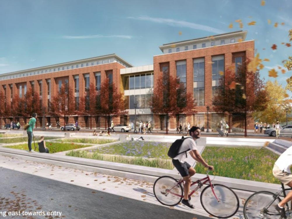 "A rendering of the Student Health and Wellness Center with the Brandon Avenue ""Green Street"" in the foreground."