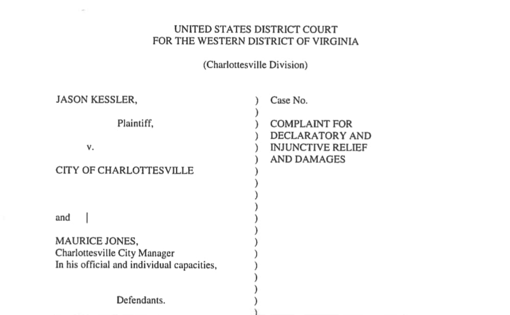 <p>Jason Kessler's lawsuit against the city was filed in federal court Thursday.&nbsp;</p>