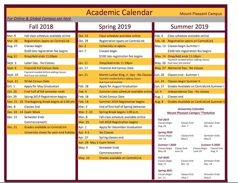academic calendar 2018-19