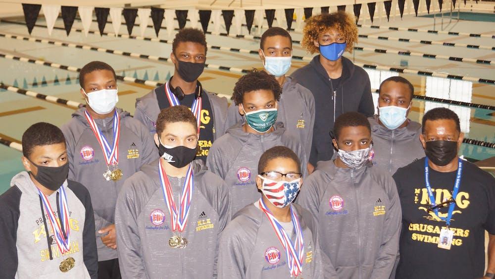 King's seven-member boys swim team wins the city championship. Courtesy photo.
