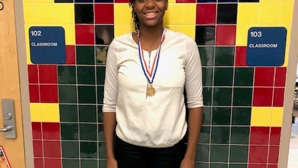 Sophomore Makayla Jackson shows off her medal a BPA competition.