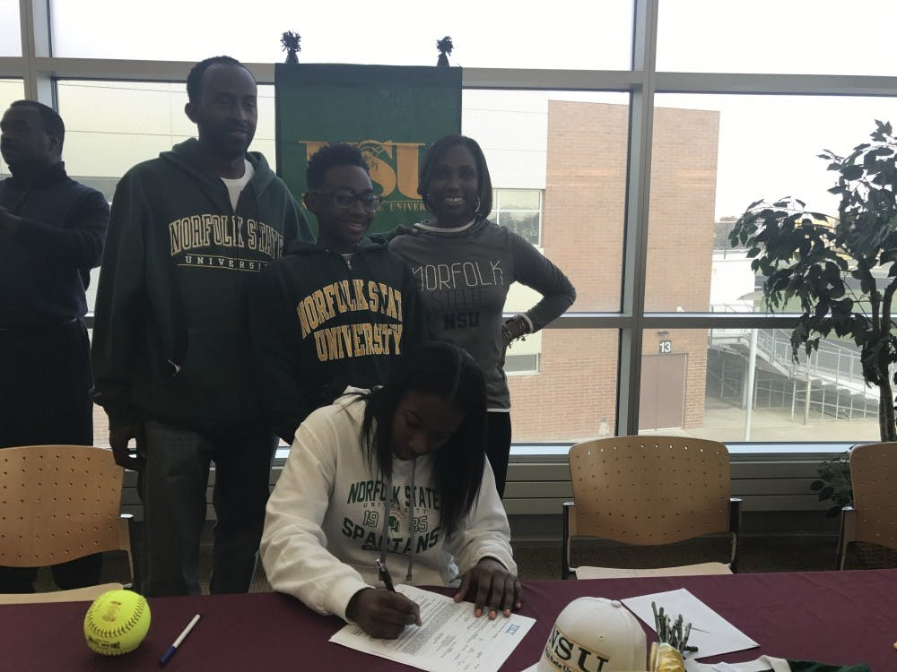 <p>On Nov. 16, Hammond committed to Norfolk State University in Norfolk, Virginia, where she will be playing both center field/outfield.</p>