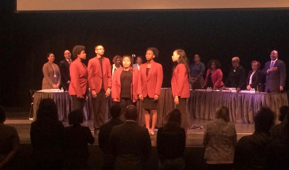 "<p>The Mumford Glee Club sang ""Lift Every Voice and Sing before the start of&nbsp;DPSCD Board of Director's meeting in the Mumford Auditorium on May 8.</p>"