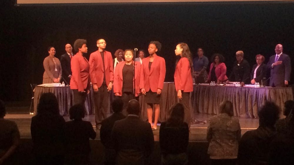 """The Mumford Glee Club sang """"Lift Every Voice and Sing before the start ofDPSCD Board of Director's meeting in the Mumford Auditorium on May 8."""