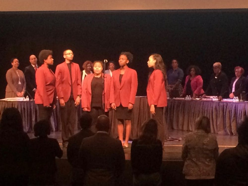 "The Mumford Glee Club sang ""Lift Every Voice and Sing before the start of DPSCD Board of Director's meeting in the Mumford Auditorium on May 8."