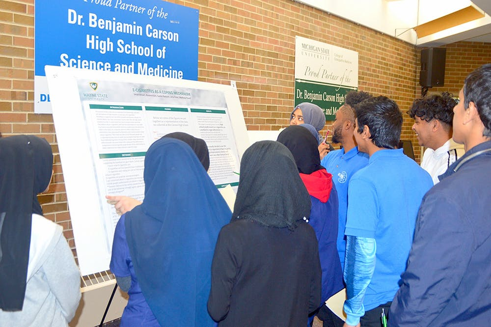 <p>&nbsp;The dangers of E-cigarettes are explained to Benjamin Carson High School students.</p>