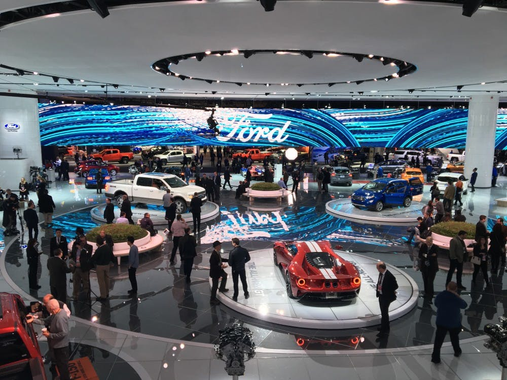 Thousands of reporters gather at the North American International Auto Show in Detroit.