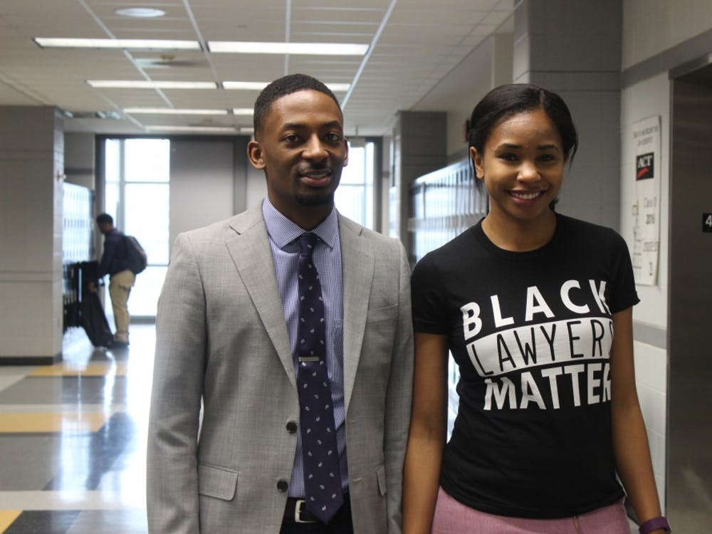 Michigan State University second year law students Chaz Gross and Angela White.