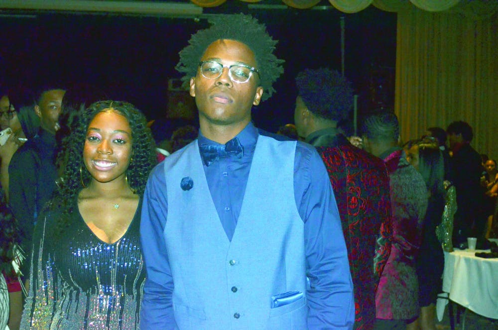 <p>Senior Jovan Henderson and Terriona McCrary show off their homecoming attire. Photo by Zaria Newton.</p>