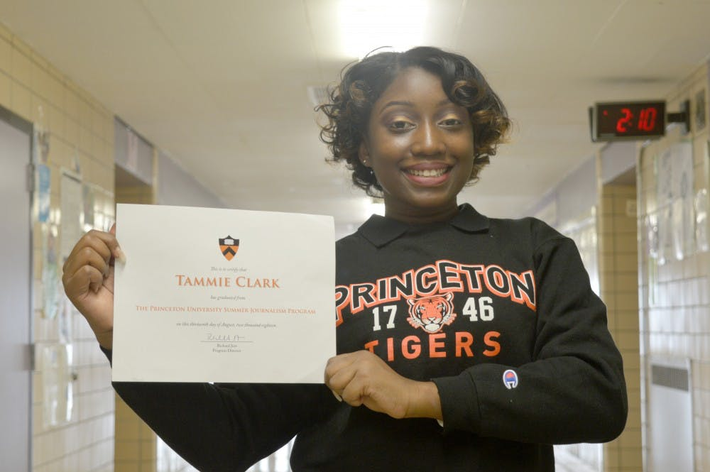 <p>CMA's Tammie Clark shows off her Princeton gear.</p>