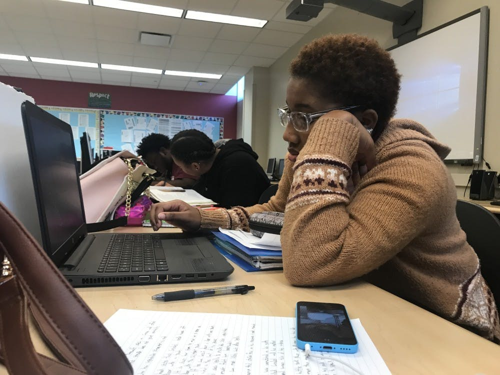 """<p>RHS senior Angel Wright says, """"Technology keeps me up to date on the world, if I got rid of it I would have no information."""" Photo credit: Chandra Fleming</p>"""