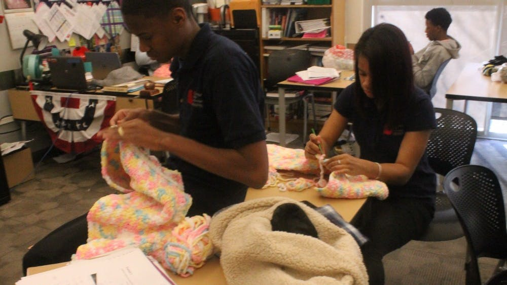 """Senior students spend their """"Crew"""" time crocheting blankets for Project Linus."""