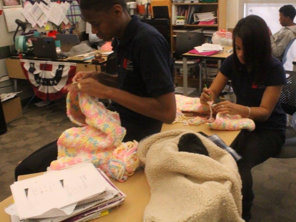 "Senior students spend their ""Crew"" time crocheting blankets for Project Linus."