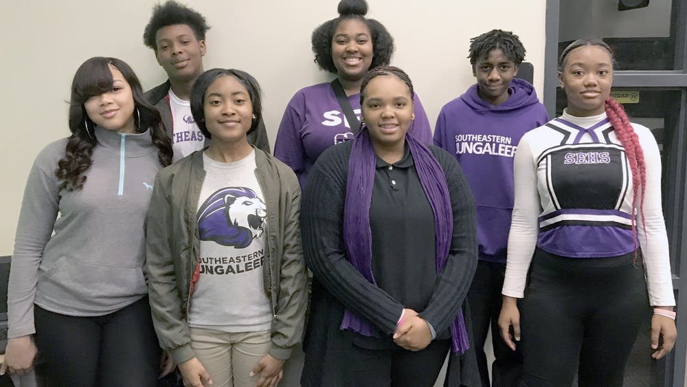 Honor roll students (rear) J'Von Williams-Bey, Renetta Jones, Jamarr Stanford; (front) Shamiah Woods, Dorrian Johnson, Amyre Conley. Photo by Treyvon Simpson.