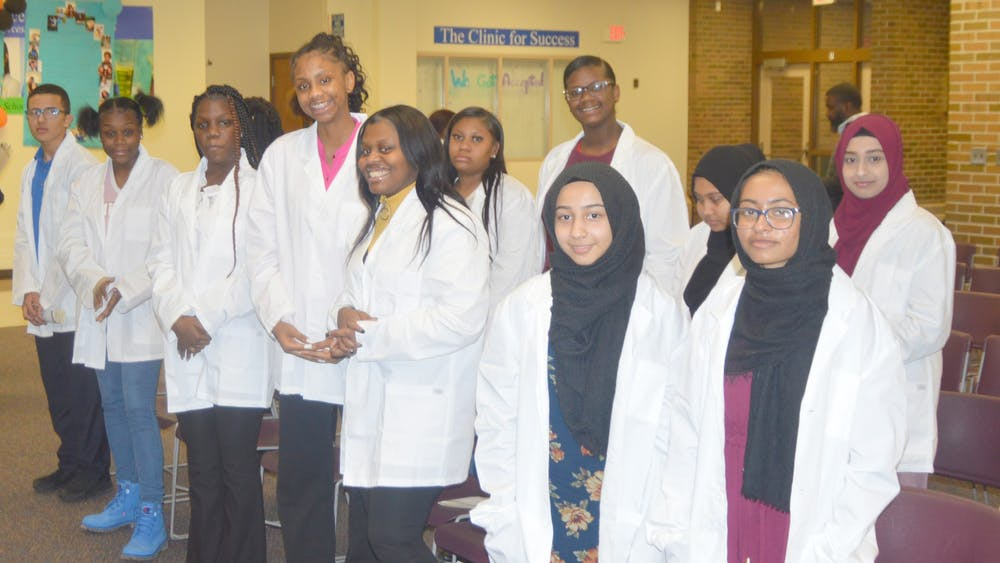 Sophomores at BCHS receive their white coat and commit to lifelong learning. Photo by Tahmim Nazim.