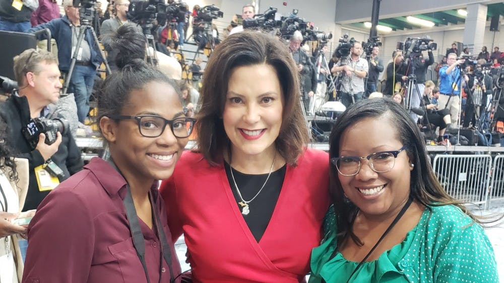 Gubernatorial candidate Gretchen Whitmer with CT Visionary adviser Stephanie Griffin, right, and editor Aja Gaines.