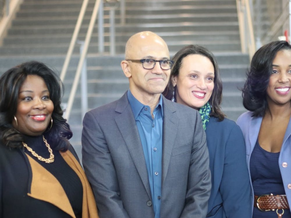 """Cass Tech principal Lisa Phillips, left,Microsoft CEO Satya Nadella,Tonya Allen from the Skillman Foundation, and assistant principal Laurie Singleton, atCass Tech High School on Feb. 9.Microsoft is moving its offices inSouthfield todowntown Detroit.""""He was a great speaker, and seemed to be very interested in helping Cass Tech,"""" Cass Tech senior Daniel Square said. """"Teachers were showing off the creative ways that technology is being used throughout the departments.""""."""