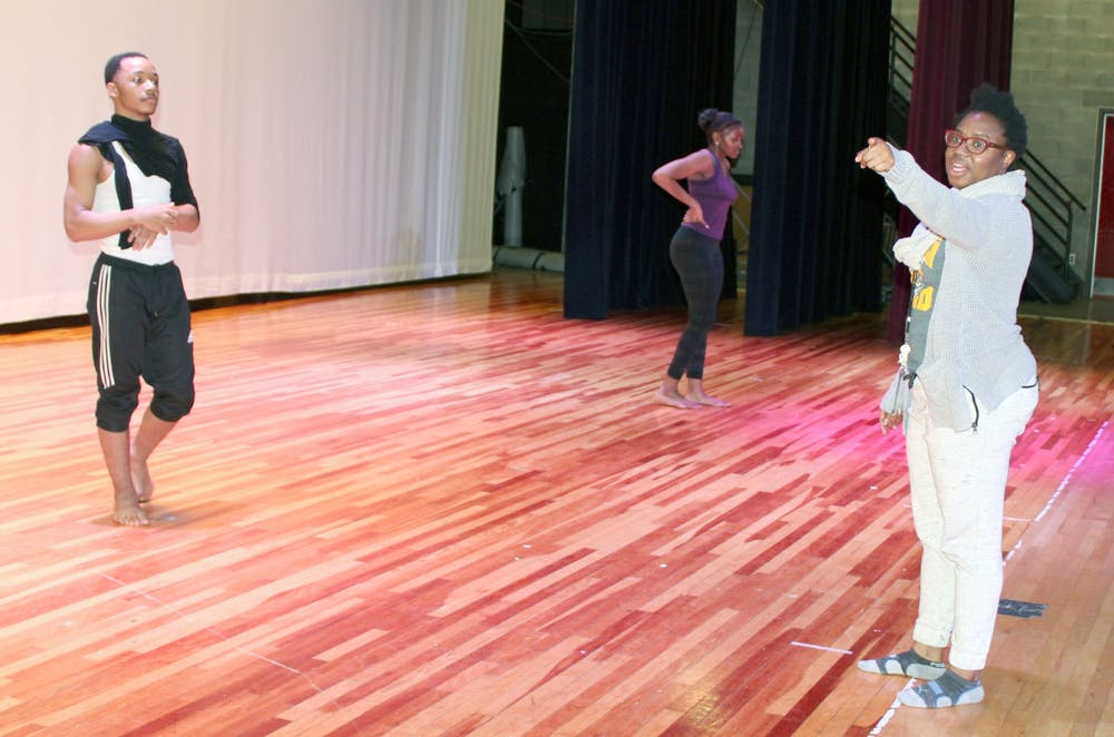 <p>&nbsp;Dance teacher Erika Stowall prepares dancers for the upcoming winter concert.</p>