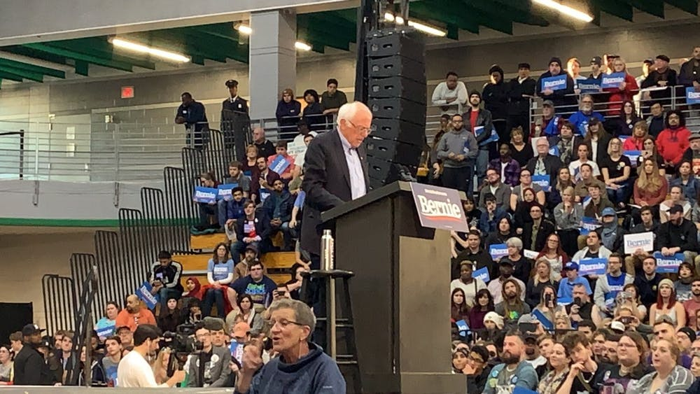 <p>Senator Bernie Sanders addresses the crowd at Cass Tech.&nbsp;</p>