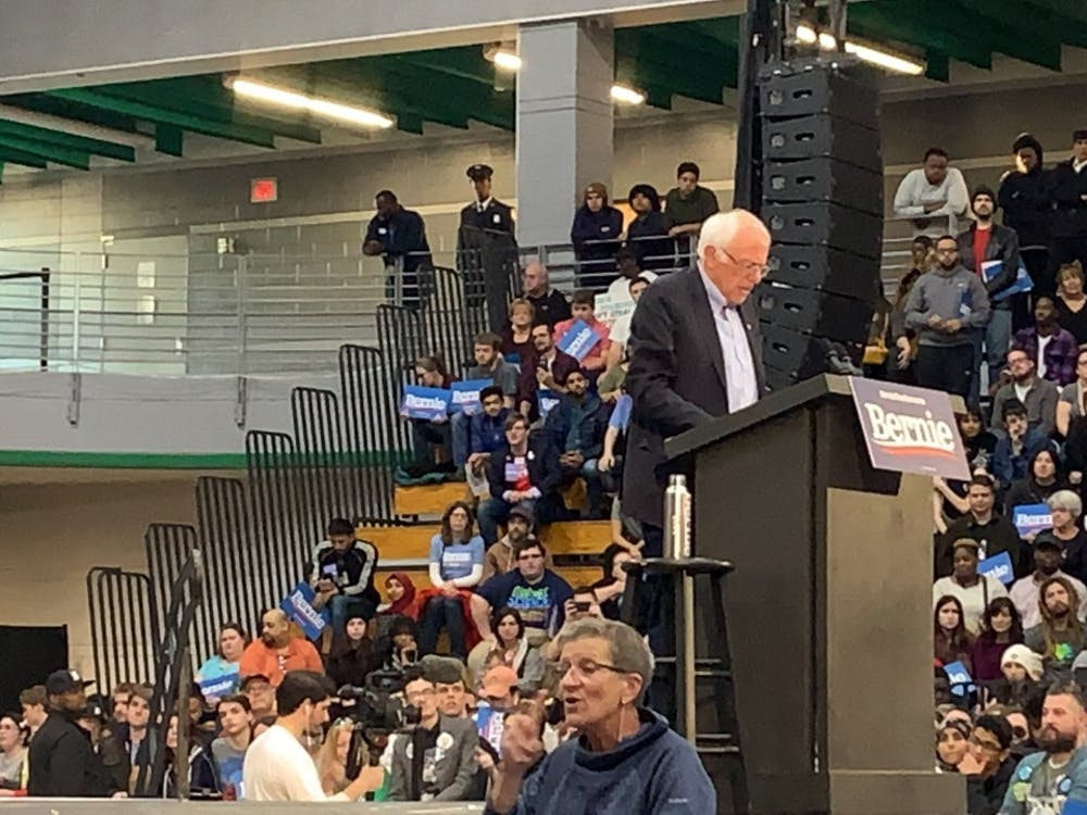Senator Bernie Sanders addresses the crowd at Cass Tech.