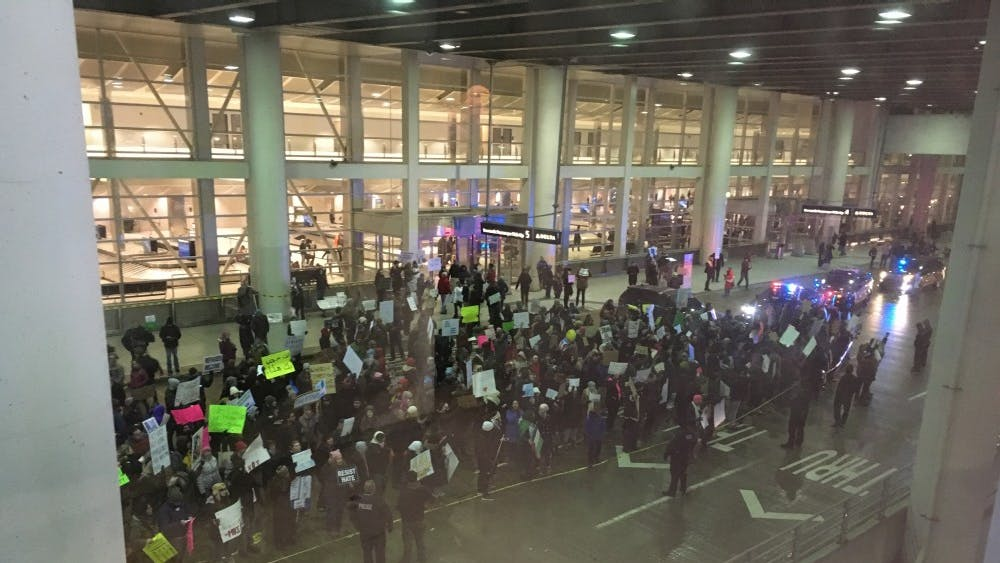 Detroit city and suburbs united Jan. 29, 2017 at Detroit Metro Airport for a #NoMuslimBan protest against Donald Trump's first immigration ban.