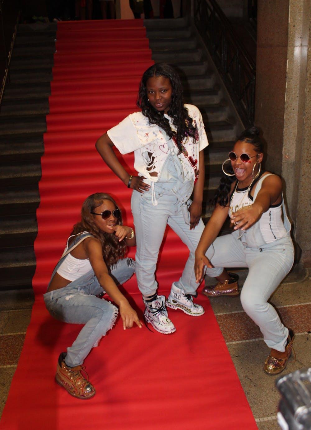 <p>DaJuanna Harris, LaShawnda Conley, and Chloe Butler pose as TLC</p>