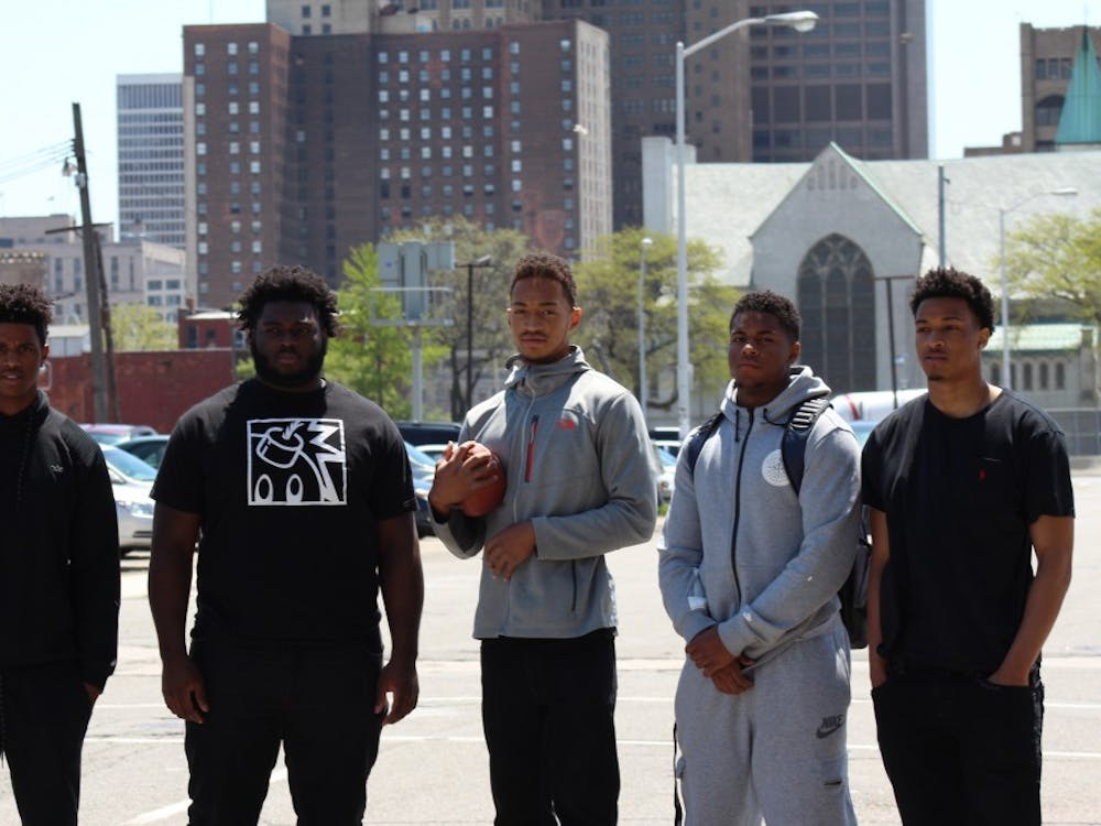The Sound Mind, Sound Body camp has provided low-income students with exposure to college recruiters and coaches nationally. Cass Tech's recent participants were: From left to right: Donovan Peoples-Jones, Michael Owenu, Jayru Campbell, Tim Walton, Demetric Vance Jr.