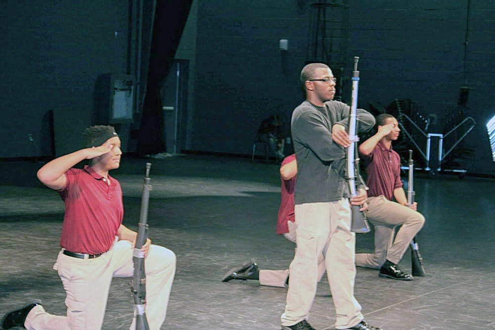 """<p>The """"Report in"""" for the JROTC Armed Exhibition drill routine at Renaissance.</p>"""