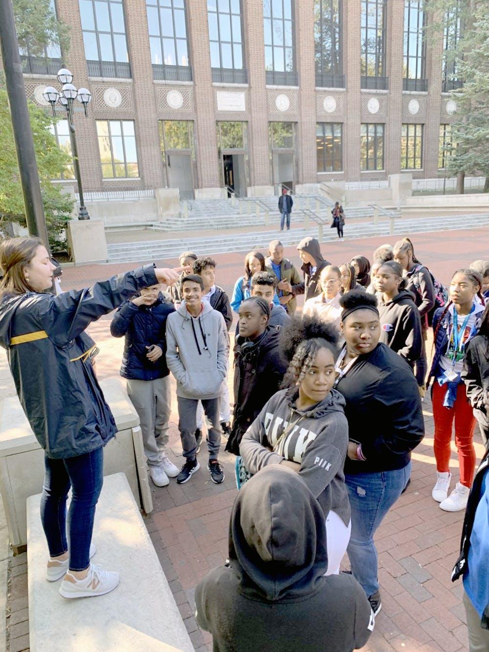 <p>&nbsp;Benjamin Carson High School freshmen explore the University of Michigan campus.&nbsp;</p>