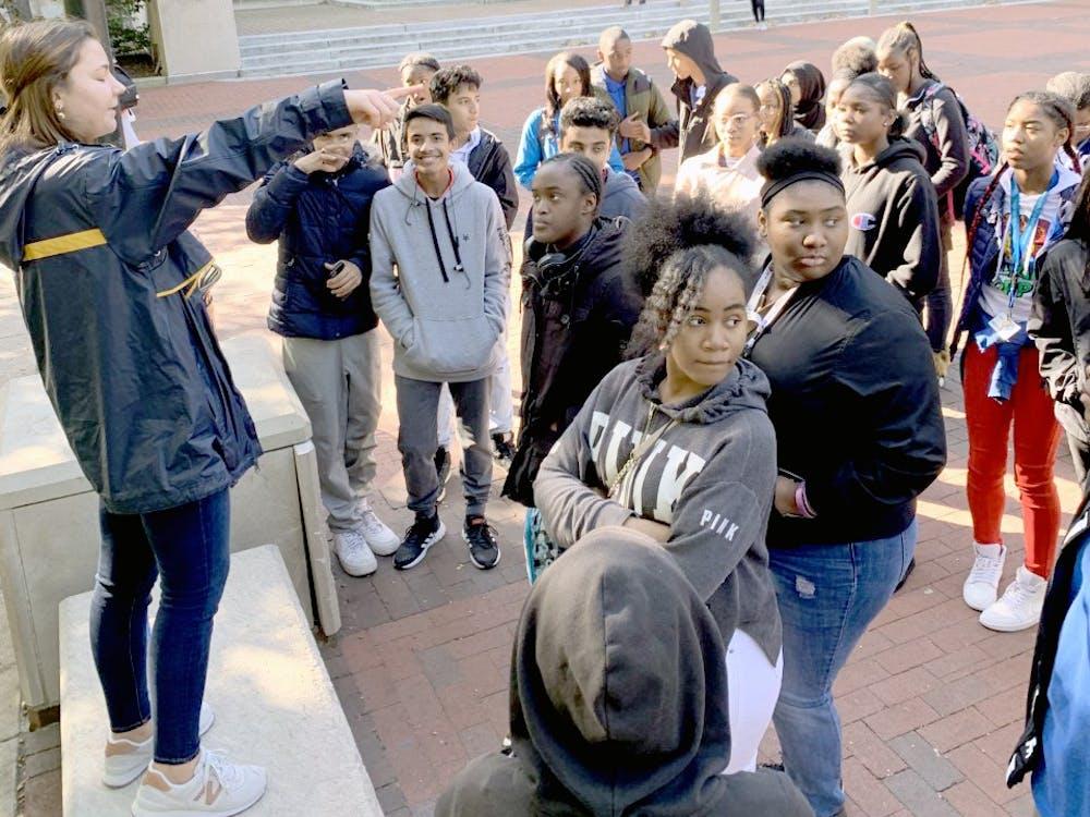 Benjamin Carson High School freshmen explore the University of Michigan campus.