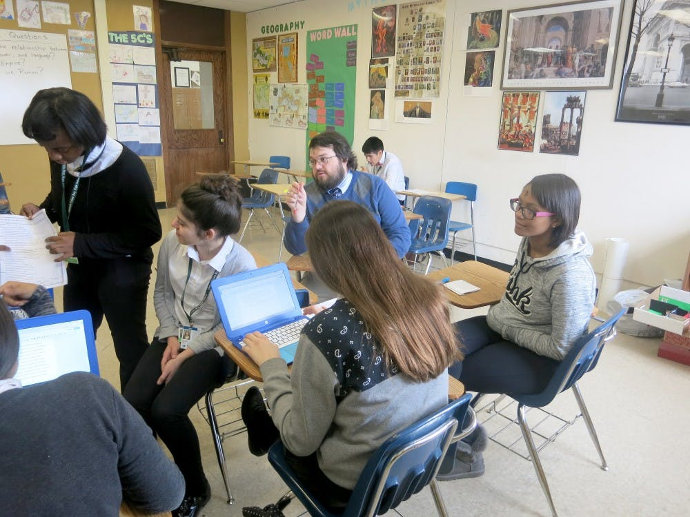 """Cristo Rey's Latin teacher James Dwyer said his goal for his students is that they leave his classroom """"more aware of themselves and their own abilities."""""""