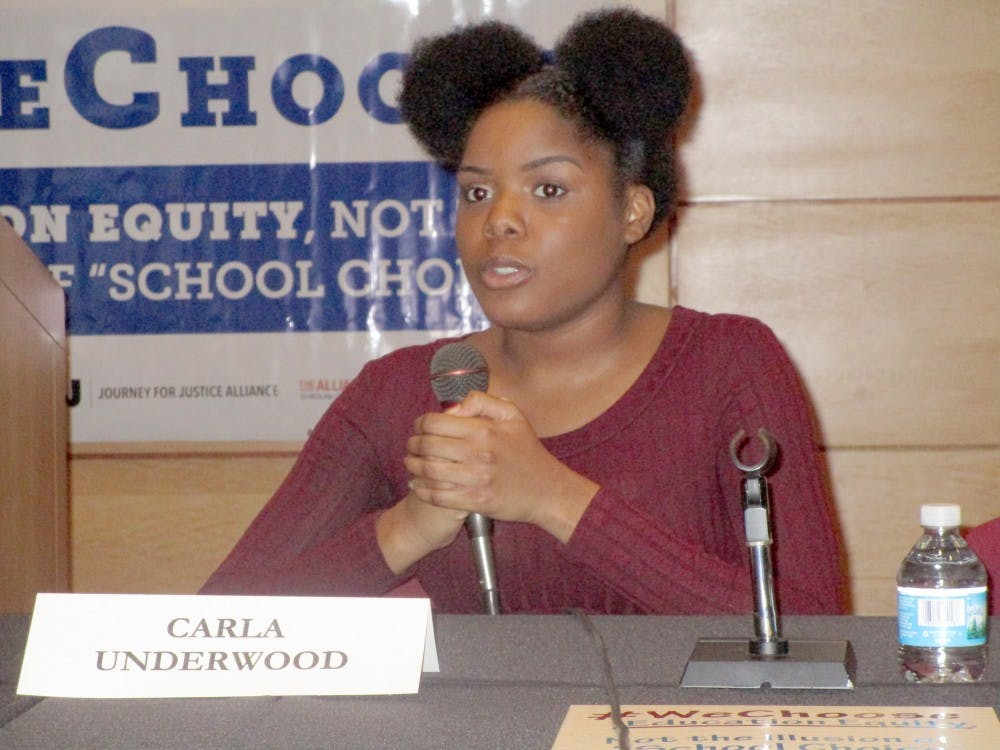 Carla Underwood speaks during the We Choose Campaign Journey for Justice Alliance conference at Wayne State University.