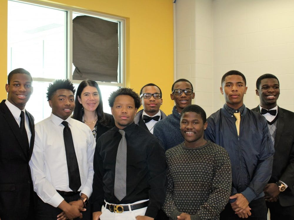 Seniors were determined to meet with the Interim Superintendent to get Making A Difference going. From left to right: Kamari McHenry, Jamal Hairston, Alycia Meriweather, Lorenzo Scott, Desmond Foster-Carter, Jalin Willis, Don Barnes, Desjuan Davis, and DeMarcus Taylor.