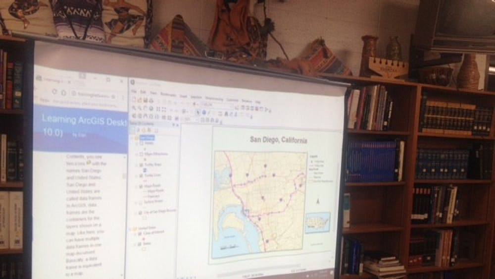 Students in the GIS program examined maps, including this one of San Diego, California.