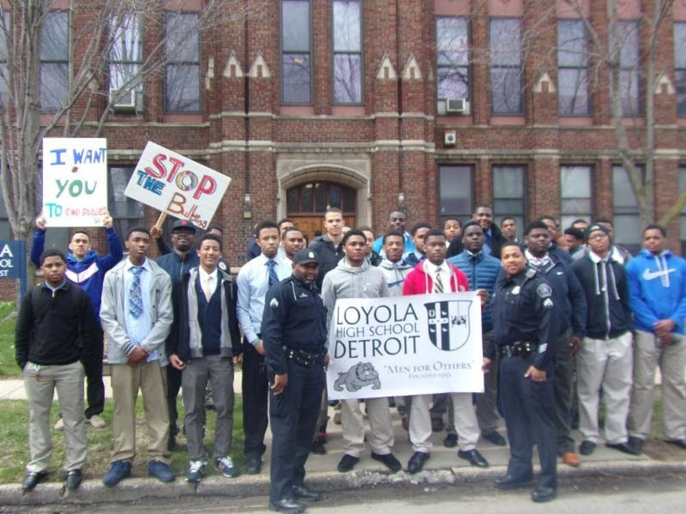 Loyola High School students prepare to begin their one-mile walk against bullying and violence during the Week of Respect.