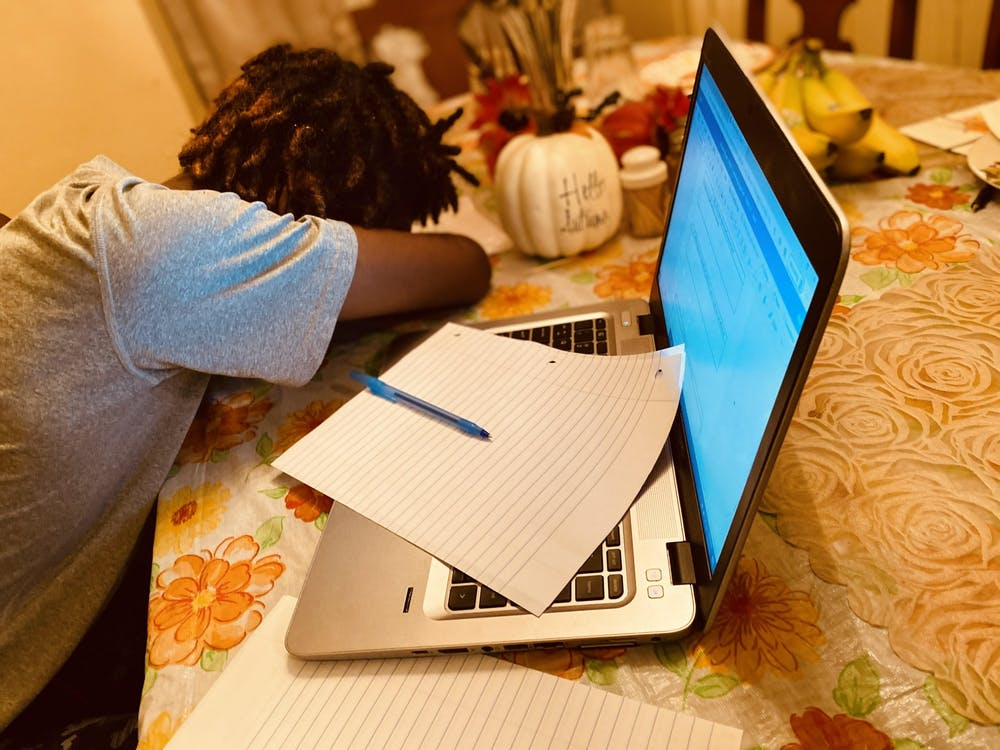 <p>Students are having a difficult time staying awake during online learning. Photo illustration by Crusaders' Chronicle.</p>