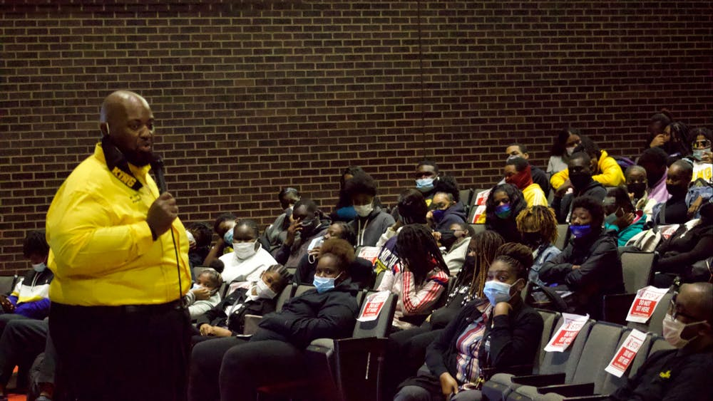 At the second town hall meeting, principal Damian Perry reminds students about the changes at King, the graduation rate, and the importance of credit recovery. Photo by Crusaders' Chronicle.
