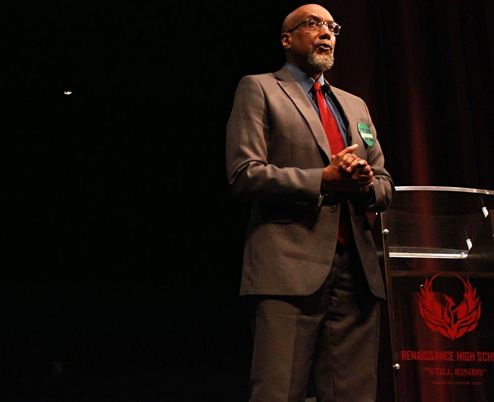 <p>Ajamu Baraka, vice presidential candidate of the Green Party, spoke to Renaissance High School&nbsp;students Oct. 18 in the school's&nbsp;auditorium.</p>