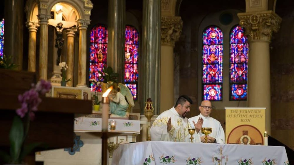 Fr. Jose presides over mass.