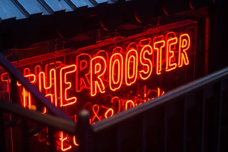 the rooster neon sign