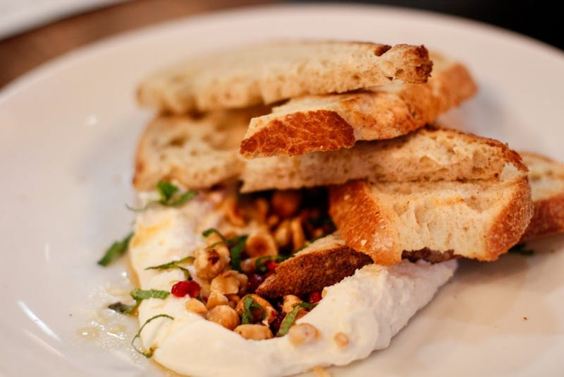 whipped ricotta on toasted sourdough bread