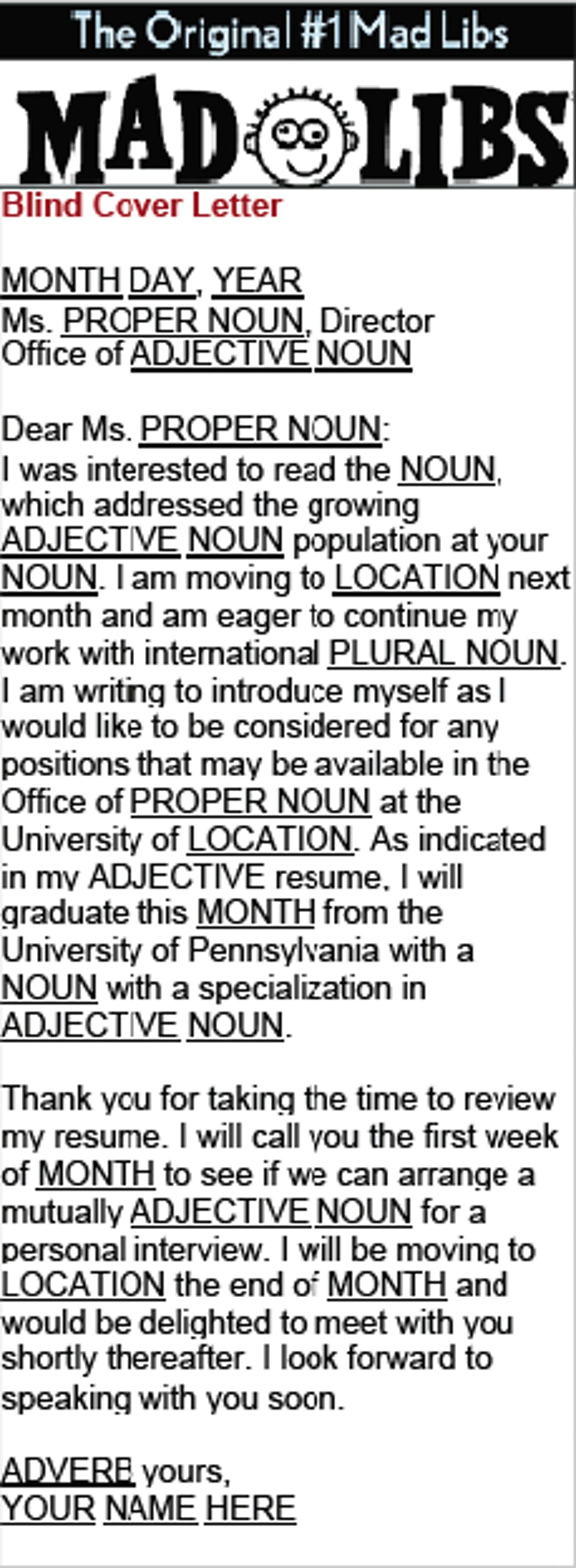Mad Libs Blind Cover Letter
