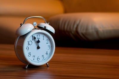Alarm clock in bedroom