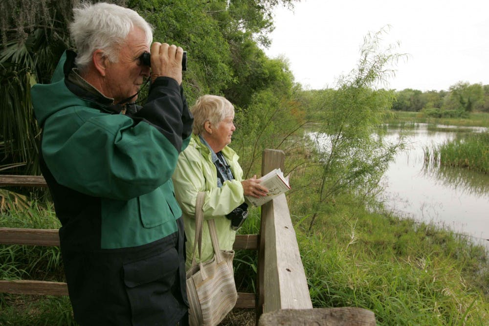 Older couple sight-seeing