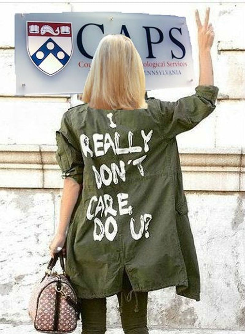 "SHOCKING: Amy Gutmann Wearing ""I Really Don't Care Do U?"" Jacket While Visiting CAPS"