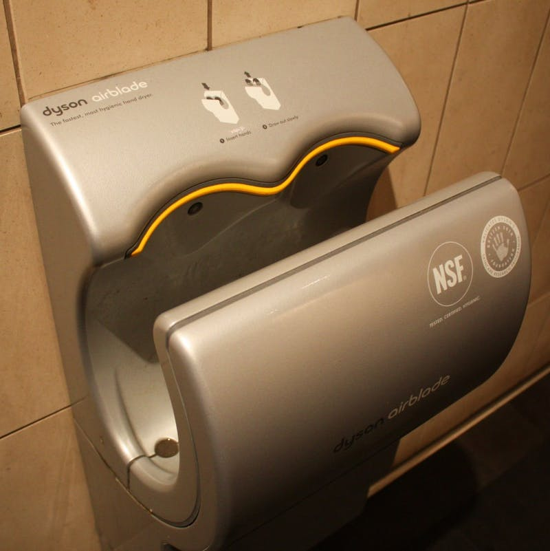 Student Spends Night in Bathroom With Hands in Dyson Airblade©, Still Had to Wipe Hands on Jeans.