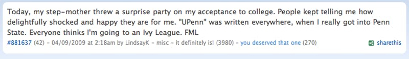 Penn State, Not Penn: FML