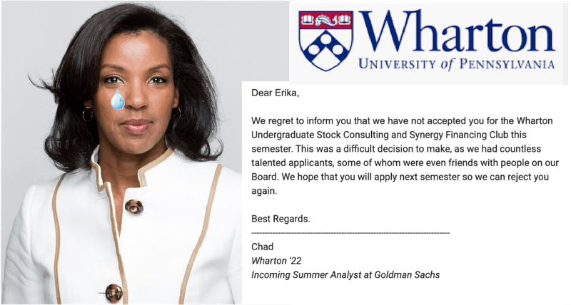 Erika James, Newly-appointed Wharton Dean, Already Rejected From 6 Wharton Clubs