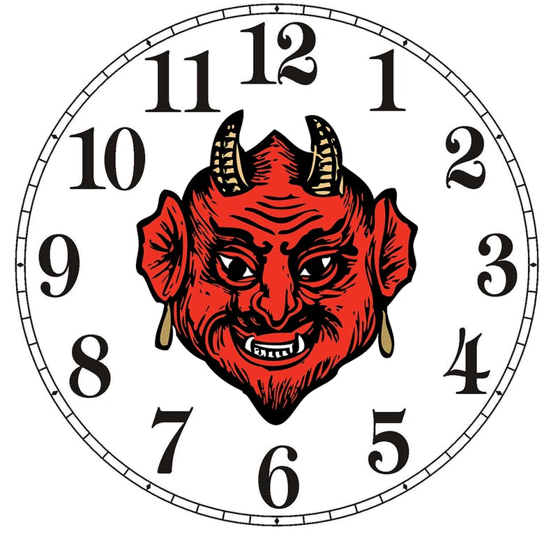 Excited for New Years? So Is Satan as He Sets Clock Back One Year to Repeat Hell Loop