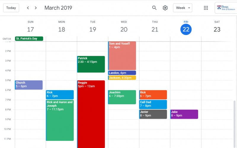 Innovative! This Girl Uses Google Calendar to Manage Her Dick Appointments